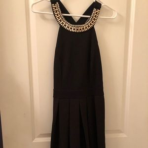 Francesca's fit to flare black cocktail dress